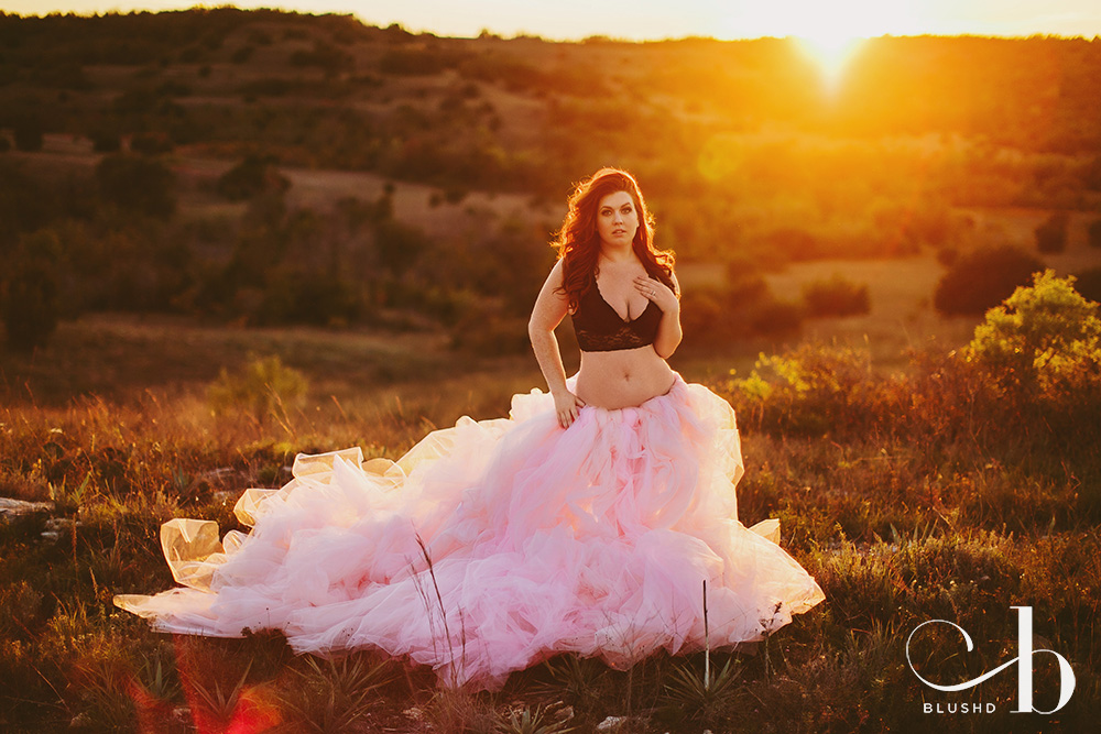 Fantasy pink tulle dress boudoir portrait photo session by Stacy Reeves for Blushd Studio in Dallas Texas